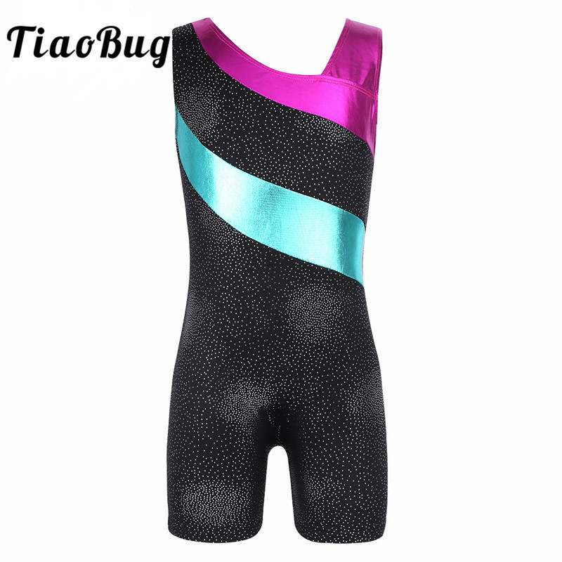 TiaoBug Kids Sleeveless Shiny Splice Ballet Dance Leotard Girls Gymnastics Leotard Sports Jumpsuit Workout Unitard Gym Bodysuit