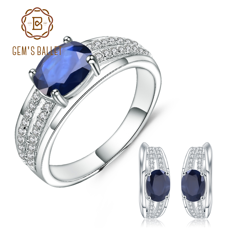 GEM S BALLET 4 97Ct Natural Blue Sapphire Ring Earrings 925 Sterling Silver Classic Gemstone Jewelry