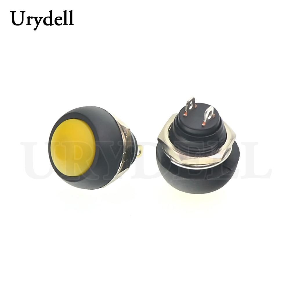 1 шт. красный/зеленый/белый/черный/синий/желтый/оранжевый ВКЛ-ВЫКЛ 12 мм водонепроницаемый Мгновенный кнопочный переключатель SPDT - Цвет: Yellow