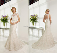 Fashionable 2015 Lace Mermaid Sheer See Through Wedding Dresses Cap Sleeve High Wasit Tea Length Slim