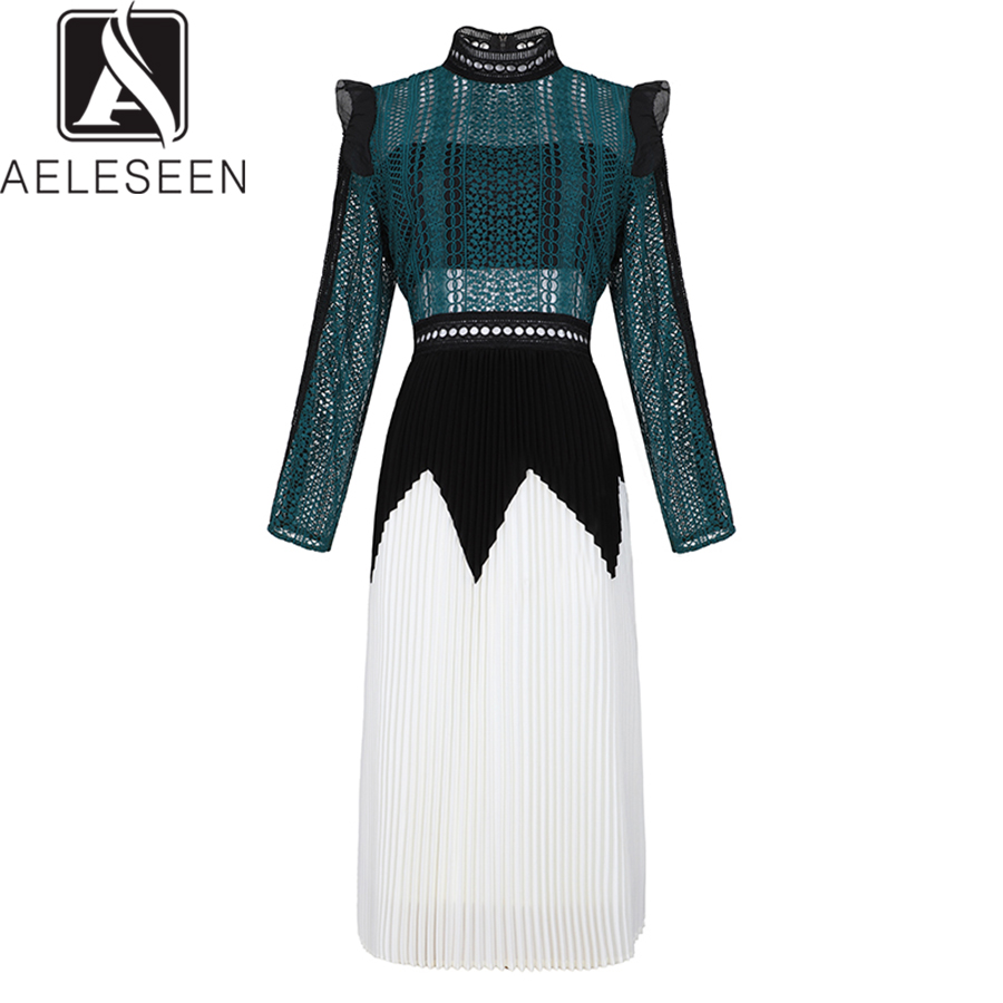 AELESEEN High Quality Dresses 2019 Spring Luxury Full Sleeve Contrast Color New Slim Runway Hollow Out