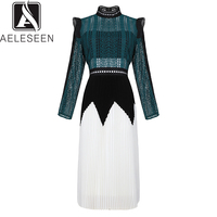 AELESEEN High Quality Dresses 2019 Spring Luxury Full Sleeve Contrast Color New Slim Runway Hollow Out Lace Mid Pleated Dress