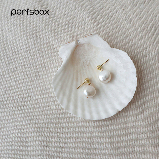 Peri'sbox Baroque Pháp Ngọc Trai Nước Ngọt Bông tai Nữ Tuyên Bố Thả Nhỏ Bông Tai Đơn Giản Bài Bông Tai Bán Buôn