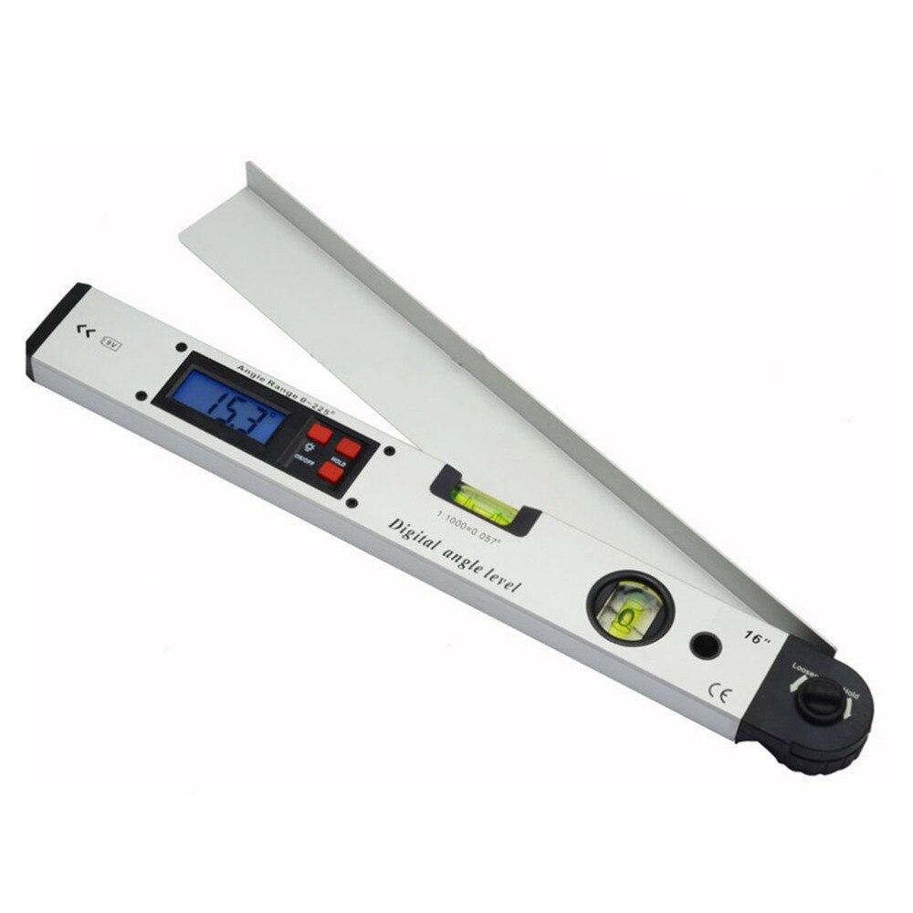 400mm/16 pouces 0 ~ 225 Degrés Professionnel Infrarouge Rapporteur Électronique Laser Niveau à Bulle Numérique Affichage Angle Mètre