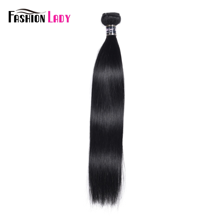 FASHION LADY Pre-Colored #1 Jet Black Hair Weave Malaysian Straight Hair Bundles Human Hair Weft 1/3/4 Bundle Per Pack Non-Remy