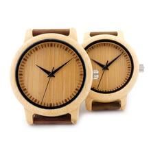 2017 BOBO de AVES de Los Hombres Relojes de Pulsera Con Banda de Cuero Genuino del Zurriago de Lujo De Madera de Bambú de Madera Relojes De Pareja como Regalos artículo