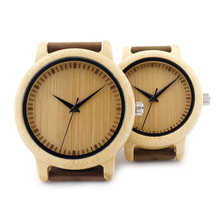 2017 BOBO BIRD Men's Bamboo Wooden Wristwatches With Genuine Cowhide Leather Band Luxury Wood Watches For Couple as Gifts Item