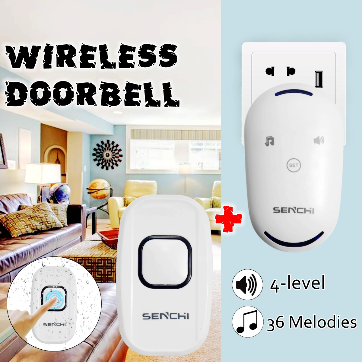 36 Chimes 4 volume levels Doorbell Wall Plug-in Wireless Door Bell Cordless 300M Range Waterproof Home Transmitter+Receiver high quality ip44 waterproof wireless doorbell 300m range with 36 chimes tone 4 level volume with 1 push button and 2 receiver