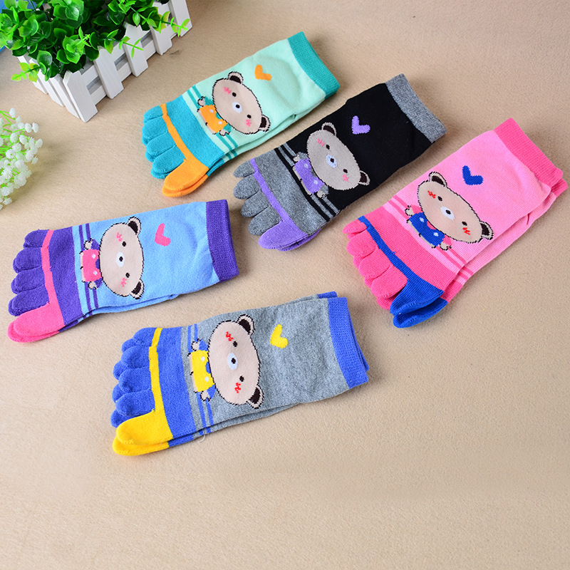 5Pairs/ Lot Five Toe Socks Skid Resistance Colour The Toe Lady and Women Cotton Fashion Colorful Finger Socks