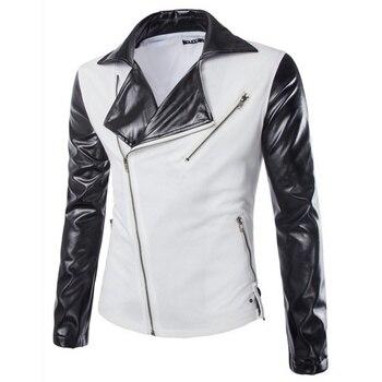 New Men Suit Leather Splice Fashion Oblique Zipper Slim