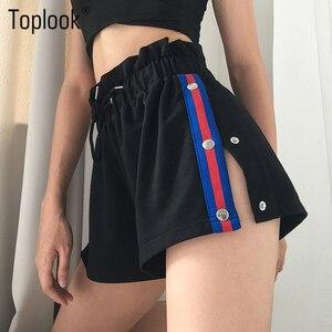 Image 1 - Toplook サイドボタン女性のファッションスプリットショーツ夏黒パッチワークハイウエストショーツストリートショーツストライプ 2019