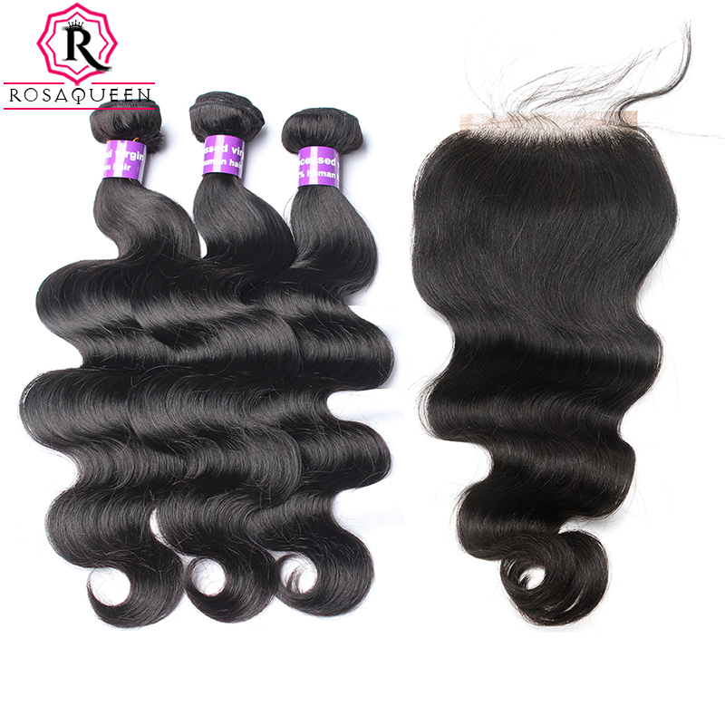 Body Wave Human Hair Bundles With Closure 4 Pcs 3 Brazilian Hair Weave Bundles With Closure 5X5 Remy Rosa Queen Hair Products