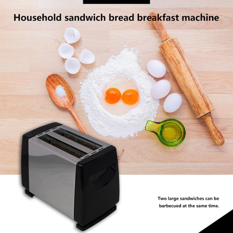 750W Automatic 2-Slice Toaster 6-speed Toaster Stainless Steel Liner Backing Sandwich Breakfast Machine For Home