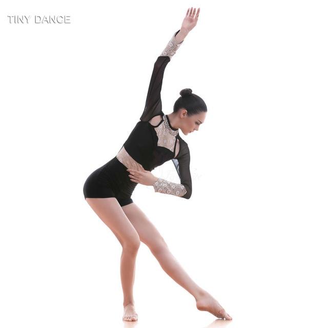 Long Sleeve Ballet Lyrical Contemporary Dance Dress Black