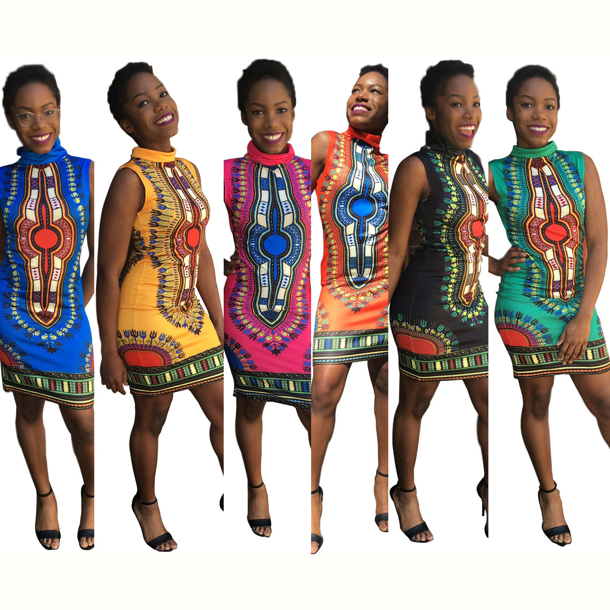 2019 African Clothing Dress Rushed Sexy Tight Folk Style Classic High Elastic Stamp Slim Package Hip Women Dashiki Clothes