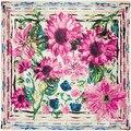 90 cm * 90 cm Pintura A Óleo de Girassol e Crisântemo Floral Impresso Marca de estilo Europeu das mulheres de cetim de seda grande praça cachecol
