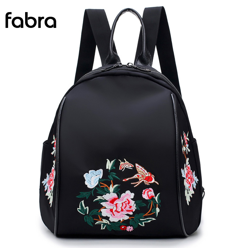 Women Backpack Nylon Waterproof Fashion Shoulder Bag Embroidery Floral Chinese style School Backpacks For Girls Travel Backpacks