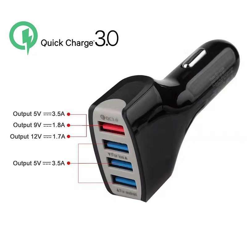 GEUMXL جيدة QC3.0 سريعة الهاتف 4 ميناء USB شاحن سيارة سريع الذكية شحن محول للشحن لسامسونج فون Xiaomi