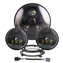 7 Led Headlight Mounting Ring Bracket LED Hi/Lo Beam Head Light + 4.5 Auxiliary Fog Spot Lamps black For