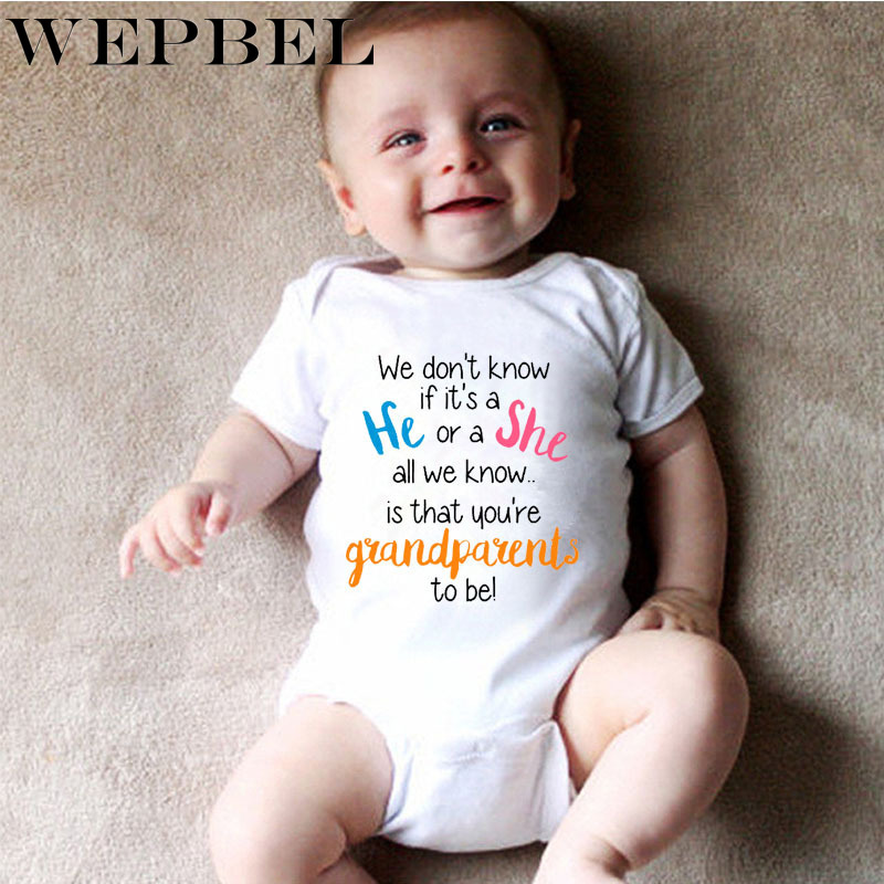 WEPBEL Newborn Baby Boys Girls   Romper   Bodysuit Pregnancy Announcement Grandparents Short Sleeve Jumpsuit Outfits Toddler Clothes