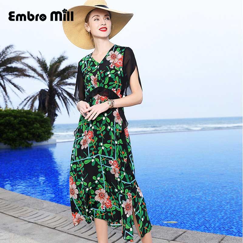 Le nouveau printemps vacances style v-cou lourd soie impression plage robe femmes longue mince volant manches taille haute robe M-XXL