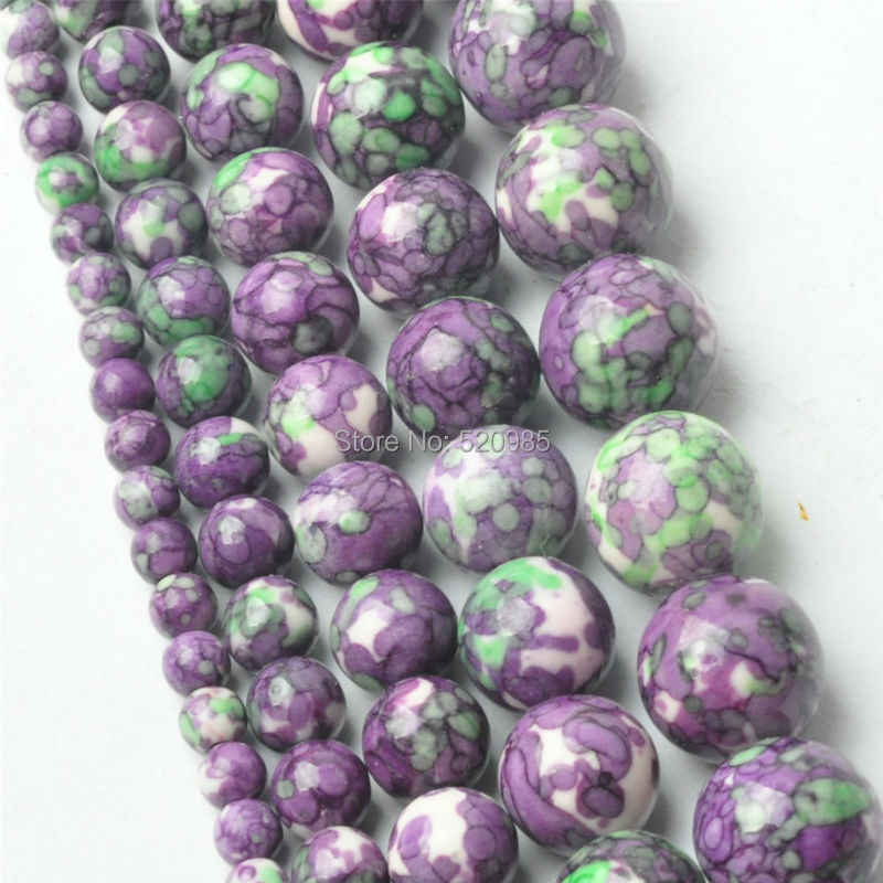 Free Shipping Natural Purple Green Dots Rainbow Stones Round Spacer Loose Beads For Necklace Bracelet Charms Jewelry RBSB04