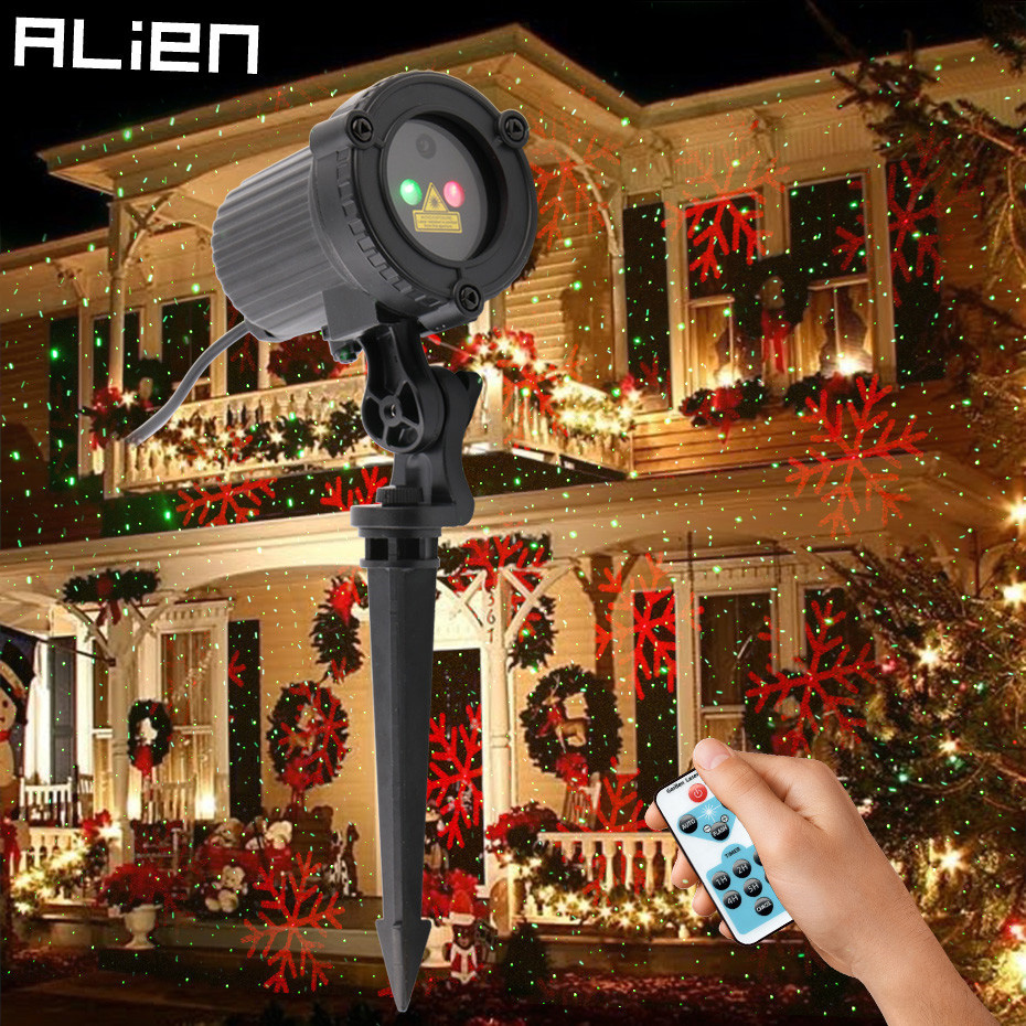 Alien Static Remote Red Green Star Snowflake Outdoor Garden Christmas Laser Light Show Projector Holiday Xmas Waterproof Lights