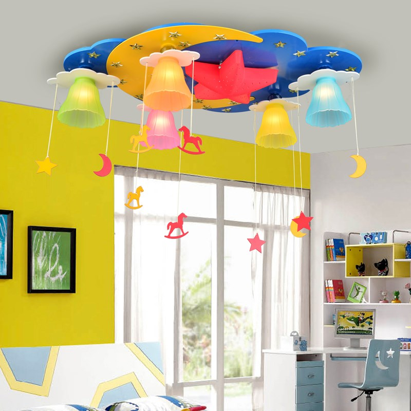 Children s Ceiling Light Star Moon Cartoon Simple Cute Men and Girls led ceiling lamps blue pink LO7291