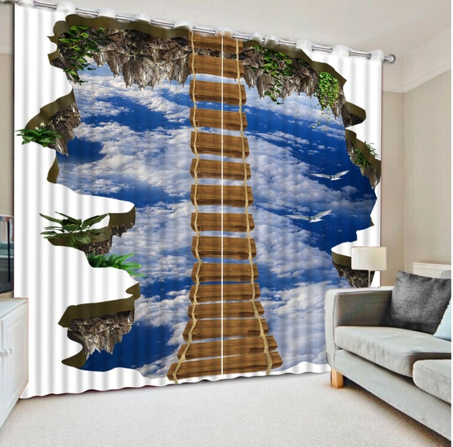 Custom Size Bedroom Curtain 3D Ladder Sky Curtains Hooks Polyester For Living Room