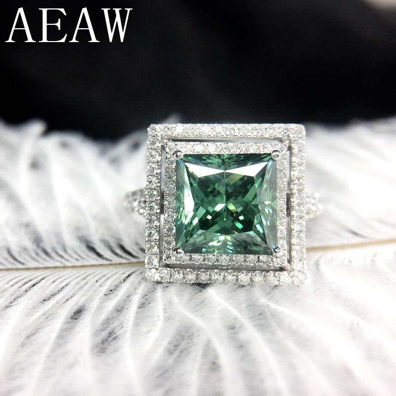 AEAW Princess Moissanite Engagement Halo Ring 2carat Green Moissanite Lab Diamond 14K White Gold Wedding Rings For Women