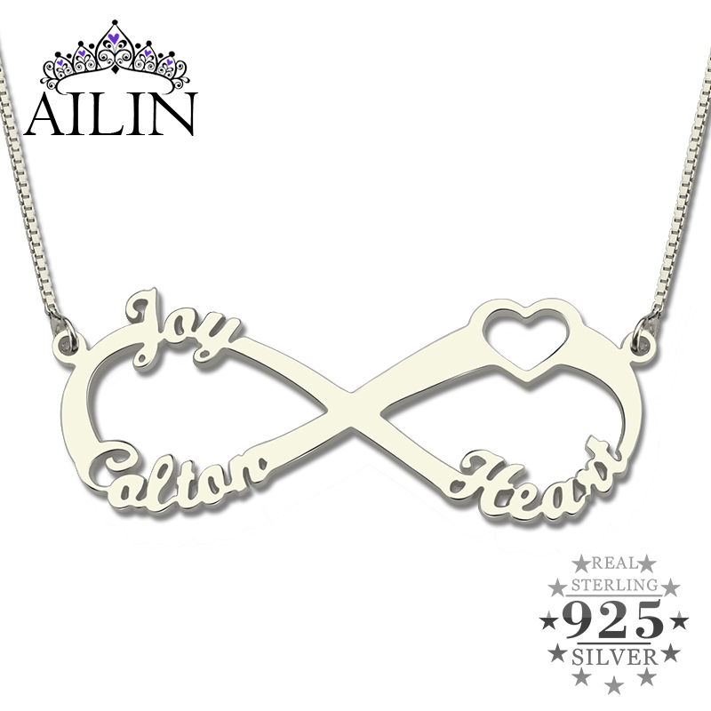 Wholesale Sterling Silver Heart Brand Infinity Necklace with Three Names Infinity Nameplate Fashion Gift for Mother
