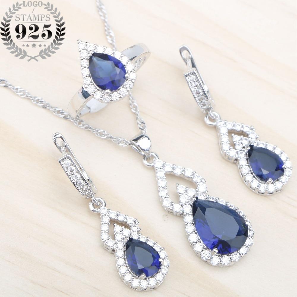 Blue Stones White Zircon 925 Silver Jewelry Sets Women Wedding Earrings Pendant&Necklace Rings Set Jewelery Free Gift Box