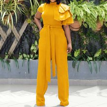 Summer Yellow Casual Plus Size Sexy Office Ladies Women Jumpsuits Slim Thin Lace Up Plain Red Clothes 2019 Female Blue Rompers