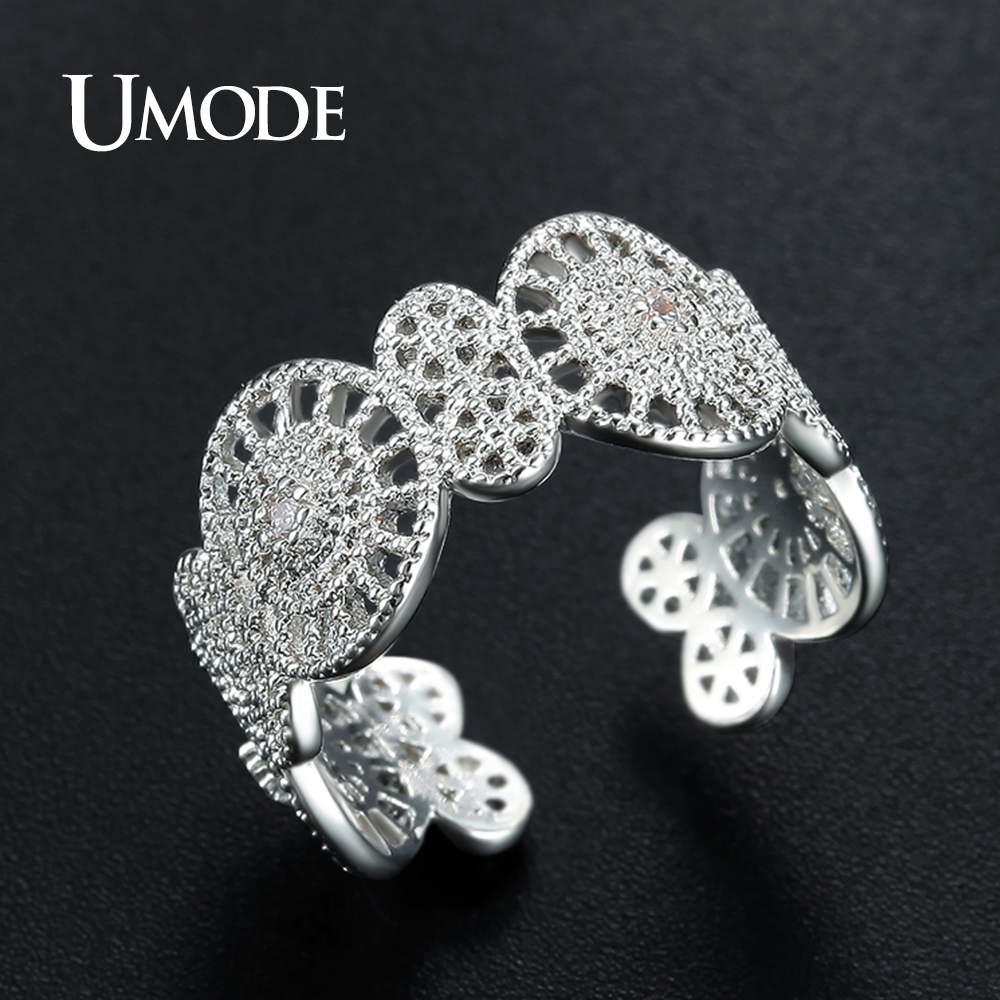 UMODE Brand New Design Resizable Weißgold Farbe Cocktail Ring - Modeschmuck - Foto 2