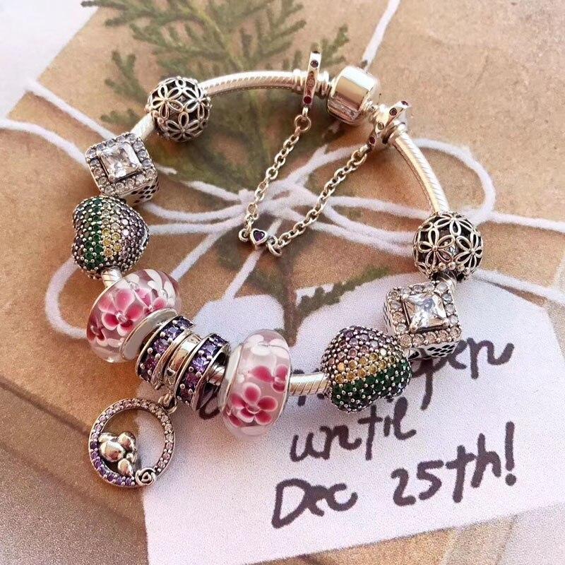 Высокое качество красивые подарки элегантный и красочные Талисманы серии 925 Реальные серебро Талисманы браслет для леди
