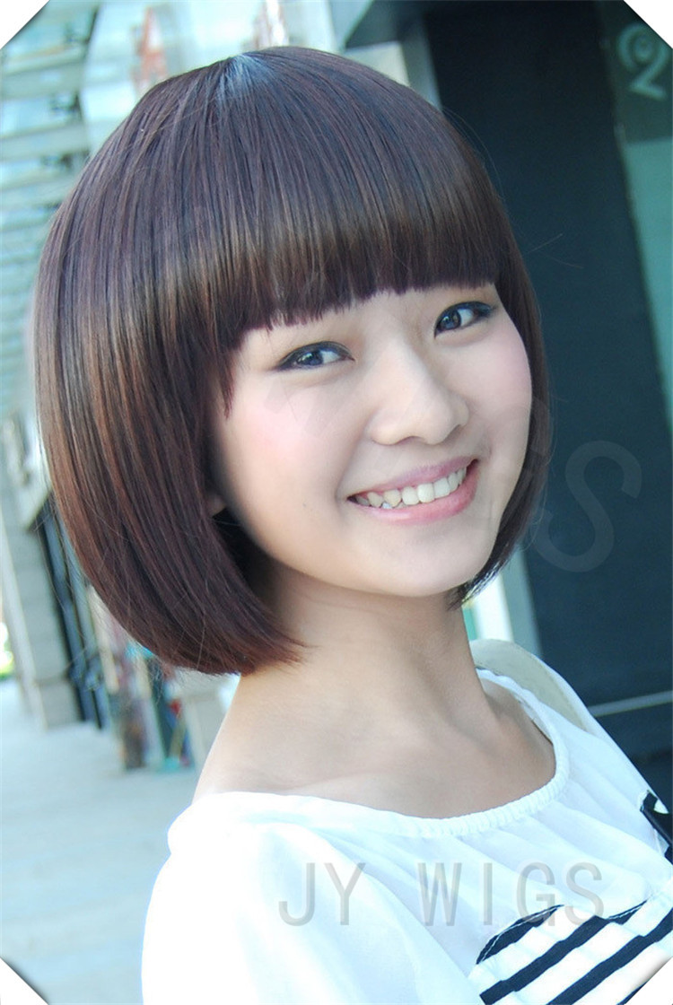 Short Blonde Wig Synthetic Straight Natural Bob Cute ...