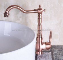 Antique Red Copper Deck mounted kitchen faucet Bathroom basin sink Faucet Mixer Tap Knf134