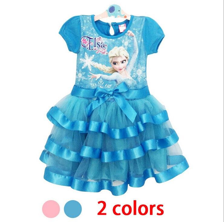 Blue Or Pink Elsa Dress Ice Princess Costume 2016 Kids Dresses For Girls Party Wear Summer Toddler Girl Birthday Dress