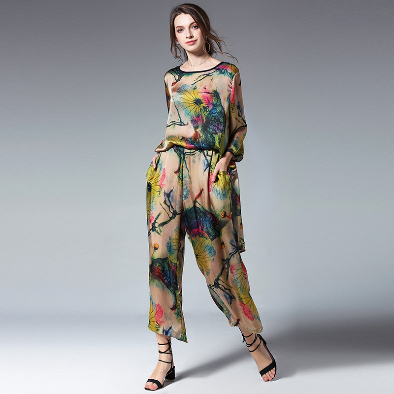 summer womens sets plus size 2018Women summer floral printsilk Shirts Trousers Sets top and pant set suits Tracksuit for women