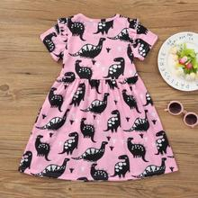 Toddler Girl Dinosaur Printed Summer Dresses