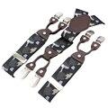 MBD8615 Moda 6 clips de la carpeta elástico 3.5 cm ancho 110 cm longitud impreso correa de las ligas de los hombres pantalones de Camuflaje de cuero envío gratis