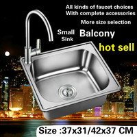 Free shipping Household mini balcony Kitchen sink Small durable 0.8 mm 304 stainless steel hot sell 37x31 / 38x33 / 42x37 CM
