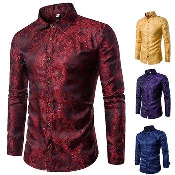 Banquet Wedding Shirt Party Shirt Bar Nightclub Shirt Men Shirt Bright long Shirt tPaisley Shirt Men Long sleeved Shirt фото