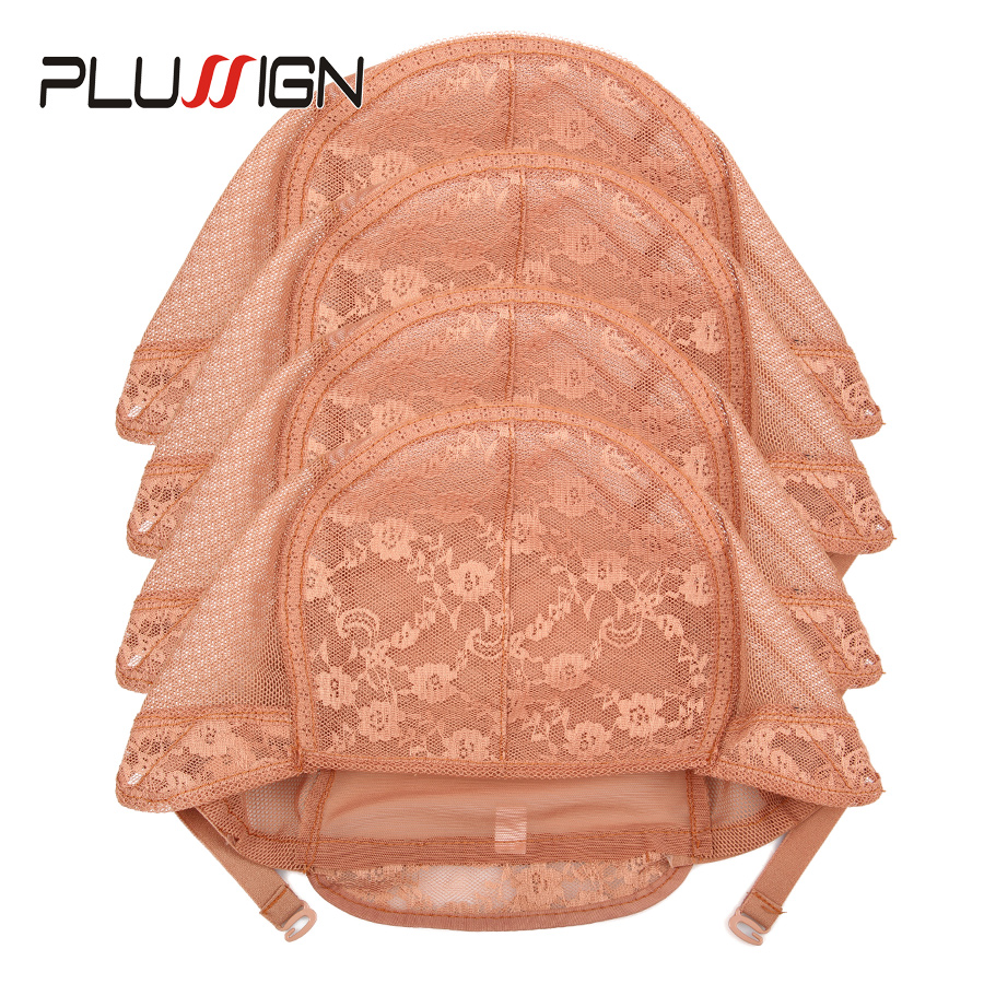 5Pcs/Lot Weave Cap For Making A Wig Black Brown Wig Cap With Adjustable Strap Double Net On Front Hair Nets Plussign Lace Caps
