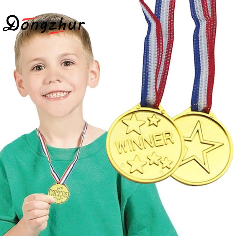 1 Pcs Children Gold Plastic Winners Medals Sports Day Party Bag Prize Awards Toys For Kids Party Fun Supplies