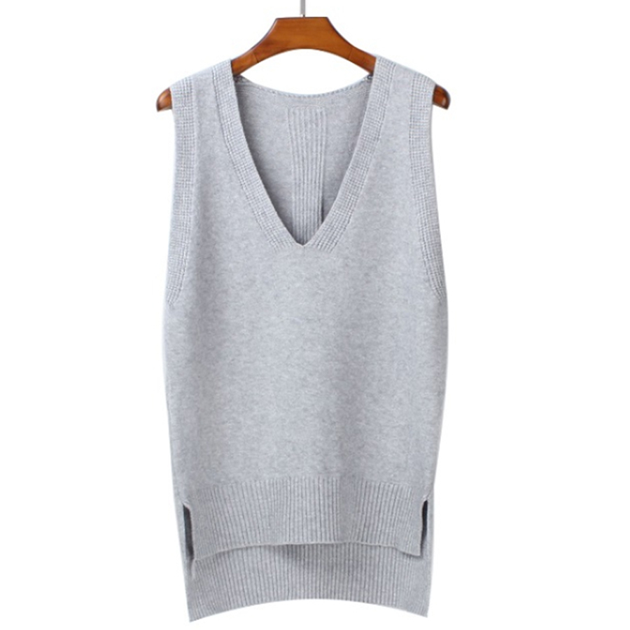 2017 Autumn loose vest V neck knitted sleeveless sweater for women Side split grey sweaters vests Pullover female waistcoat vest