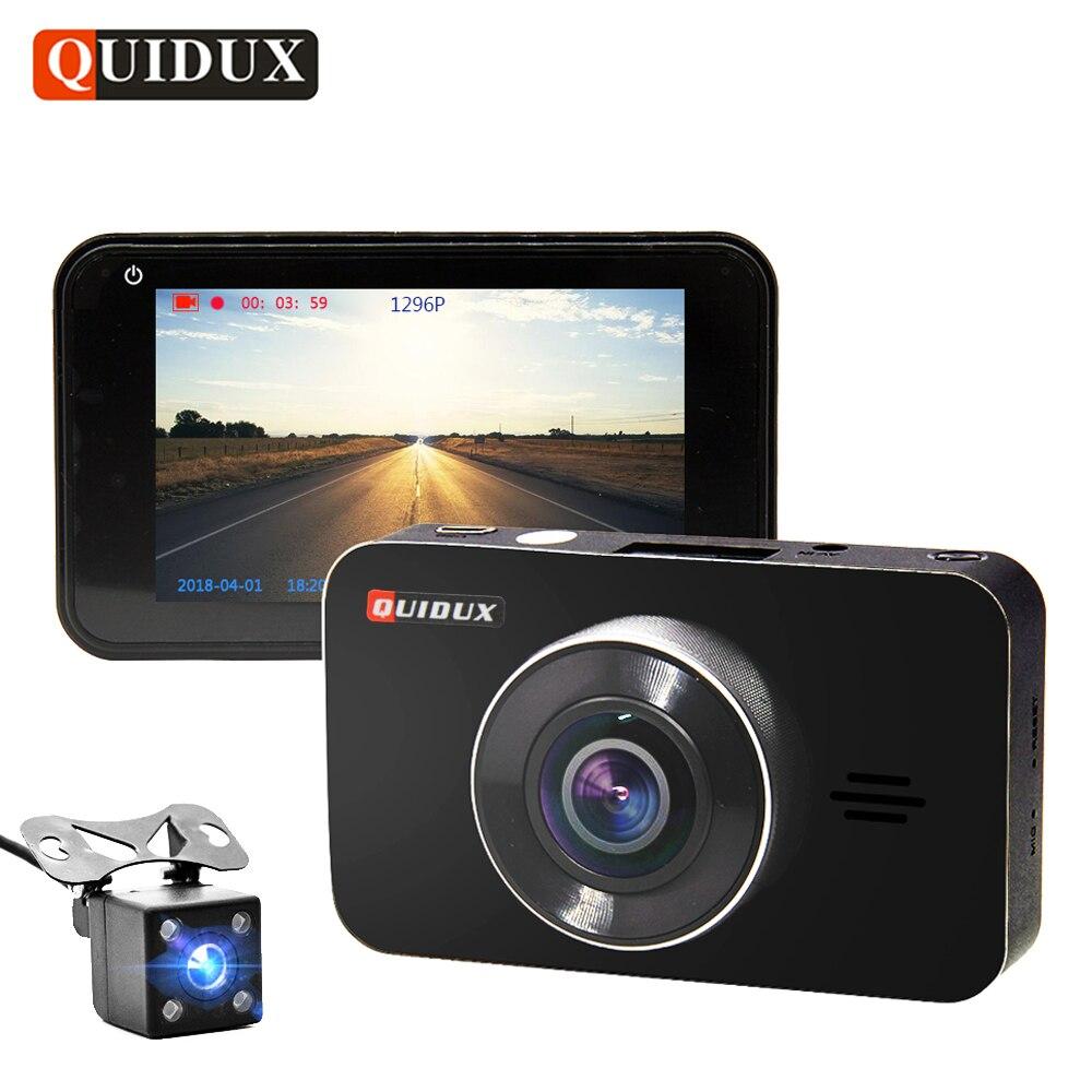 QUIDUX 3 дюймов Автомобильный dvr камера ADAS Full HD 1296 P WDR ночное видение двойной объектив Цикл Запись Dashcam видео регистраторы 170 градусов угол