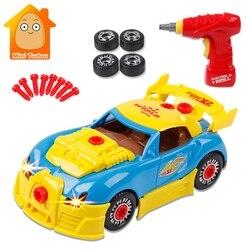 Crianças parafuso brinquedo blocos de construção peças do carro construtor com broca elétrica som luz crianças ferramenta criativa brinquedos educativos