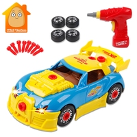 Kids Screw Toy Building Blocks Car Parts Constructor With Electric Drill Sound Light Children Creative Tool Educational Toys
