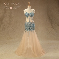 Rose Moda Sexy Blue Crystal Prom Dress Thin Straps Mermaid Prom Dresses With See Through Skirt